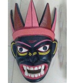 Open Mouth Devil Crafted Gomira Wooden Mask of Kushmandi Mukha for Home Decor