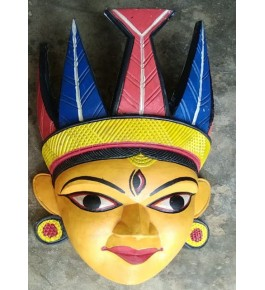 Traditional Hand Carved Gomira Wooden Mask of Kushmandi Face with Colourful Crown for Home Decor