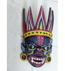 Open Mouth Devil Crafted Gomira Wooden Mask of Kushmandi for Home Decor
