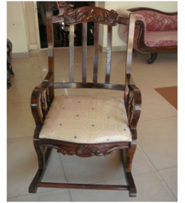 Designed Rosewood Inlay Wooden Rocking Chair Designed Beautifully