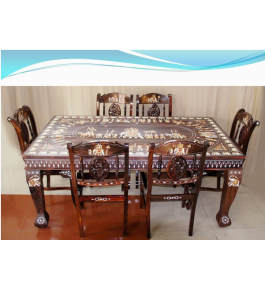 Beautifully Designed Rosewood Inlay Wooden Dining Table With 4 Chairs
