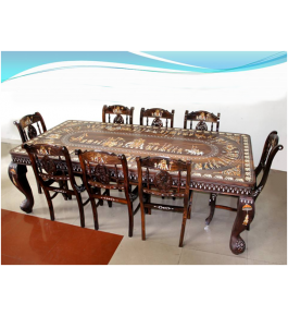Beautifully Designed Rosewood Inlay Wooden Dining Table With 8 Chairs