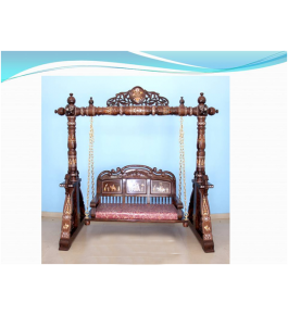 Beautifully Designed Rosewood Inlay Wooden Small Swing
