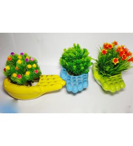 Handshaped Set of 3 Bulandshahar Pottery Ceramic Planters Pots for Home Decor