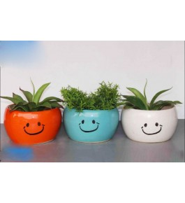 Happy Haandishaped  Bulandshahar Pottery Ceramic Planters Pots  Set of 3 for Home Decor