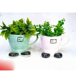 Cupshaped  Bulandshahar Pottery Ceramic Planters Pots  Set of 2 for Home Decor