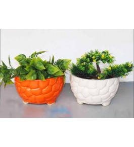 Bowl Shaped Bulandshahar Pottery Ceramics Planters Set of 2 for Home Decor
