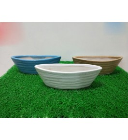 Boat Shaped Bulandshahar Pottery Ceramics Planters Set of 3 for Home Decor