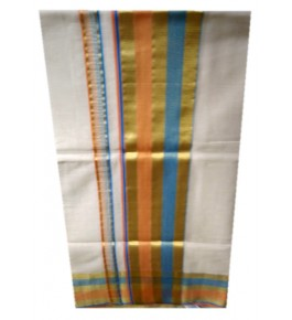 Traditional Balaramapuram  Cotton Saree with Multicolor Border Line for Women