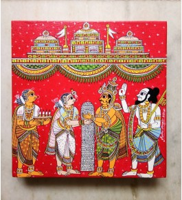 Handicraft Traditional Beautiful Cheriyal Painting Of Bhavanarushi And Bhadravathi Marriage Sequence