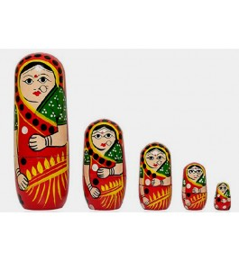 Traditional Hand Painted Wooden Channapatna Toys of Bride Dolls (Set of 5)