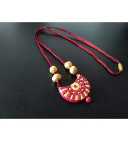 Pure Handmade Molela Terracotta Clay Beautiful Pink Necklace for Fashionable Women