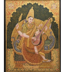 Embellishing Goddess of Knowledge Mata Saraswathi 18 x 24 inches Actual 22-Carat Gold Foil Mysore Traditional Painting