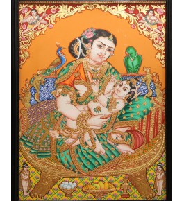 Beautiful Scene Of Maiyaa Yashoda With Kaanha 18 x 24 inches Actual 22-Carat Gold Foil Mysore Traditional Painting