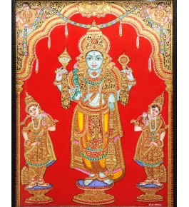 Beautiful Scene Of Lord Vishnu With Goddesses 18 x 24 inches Actual 22-Carat Gold Foil Mysore Traditional Painting