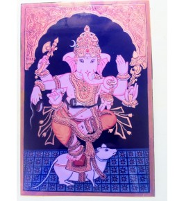 Handicraft Traditional Mysore Beautiful Painting Of Dancing Lord Ganesha  With Wooden Frame