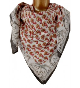 Machilipatnam Kalamkari Cotton White & Pink Color Scarve for Women