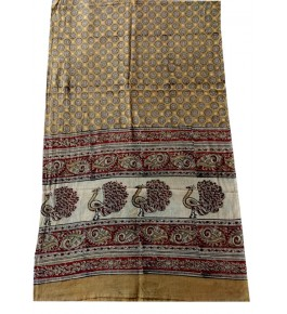 Machilipatnam Kalamkari Cotton Beautiful Border Print  Stole for Women