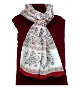 Machilipatnam Kalamkari Cotton Bird & Flower Print Stole for Women