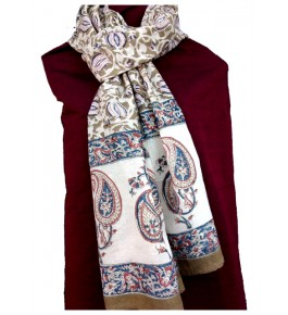 Machilipatnam Kalamkari Cotton Flower Print Stole for Women