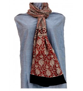 Machilipatnam Kalamkari Cotton Flower Print with Black Border Stole for Women
