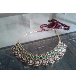 Temple Jewellery of Nagercoil for Women Red and Green Necklace for Traditional Occassion