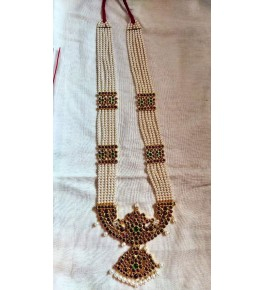 White Pearl with Temple Jewellery of Nagercoil for Women Long Necklace for Traditional Occassion