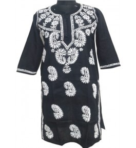 Hand Embroidered Lucknow Chikan Craft Unstitched Black Colour Kurta for Women