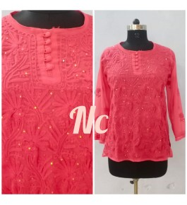 Prettify Handicrafted Red Colour Lucknow Chikan Stitched Short Kurti for Women