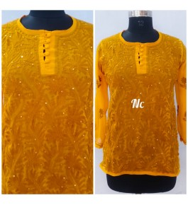 Prettify Handicrafted Yellow Colour Lucknow Chikan Stitched Short Kurti for Women