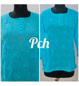 Prettify Handicrafted Sky Blue Colour Lucknow Chikan Stitched Short Kurti for Women