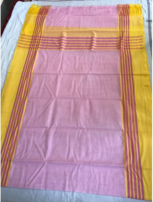 Beautiful Handloom Pink Colour Kota Doria Saree For Women