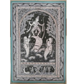 Traditional Orissa Pattachitra Painting of Lord Krishna dancing on the serpent Kalia