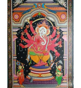 Beautiful Art of Orissa Pattachitra Painting of Lord Ganesha for Home Decore