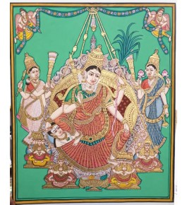 Goddess Raja Rajeswari 18x22 inches 22-Carat Actual Gold Foil Mysore Traditional Painting