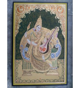Goddess of Knowledge Mata Saraswathi 24x36 inches Actual 22-Carat Gold Foil Mysore Traditional Painting