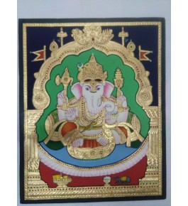 Lord Ganesha 12x15 inches 22-Carat Actual Gold Foil Mysore Traditional Paintings