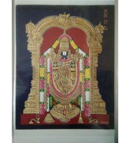 Golden Balaji 12x15 inches 22-Carat Actual Gold Foil Mysore Traditional Painting