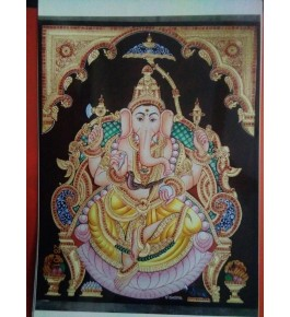 Lord Bappa 16x20 inches Handmade 22 Carat Gold Foil Mysore Traditional Painting