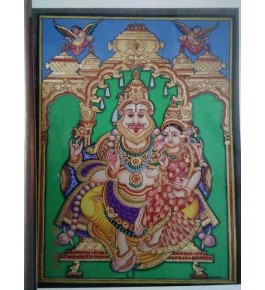 Lakshmi Narashima 18x24 Inches 22-Carat Gold Foil Mysore Traditional Painting