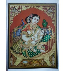 Mata Yasodha & Baby Krishna Elegant 18x24 inches 22-Carat Gold Foil & Natural Colours Original Mysore Traditional Painting