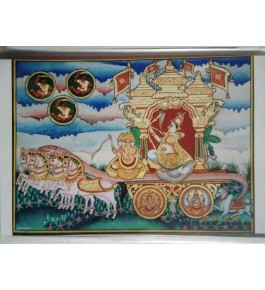 Lord Tripura Samhara 18x24 inches 22-Carat Gold Foil Mysore Traditional Painting