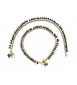 Nisa Pearls Gold Plated Pair Of Anklets For Women & Girls