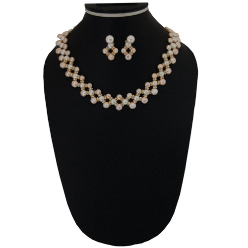 Nisa Pearls Gold Plated Necklace Set For Women & Girls