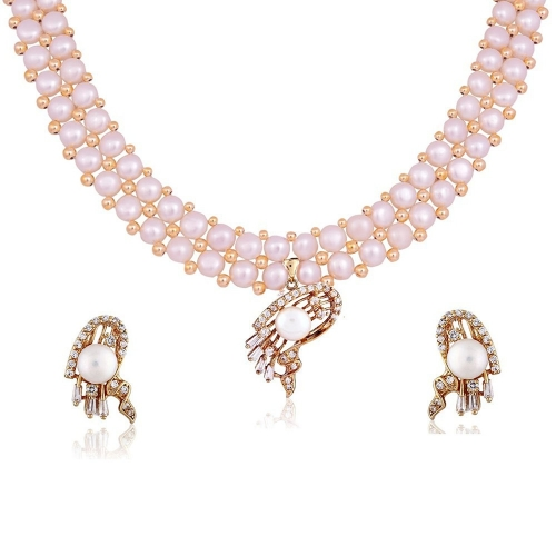 Nisa Pearls Gold Plated White Necklace Set For Women & Girls