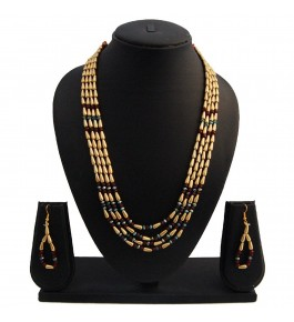 Nisa Pearls Green and Golden Beaded Necklace Set For Women & Girls