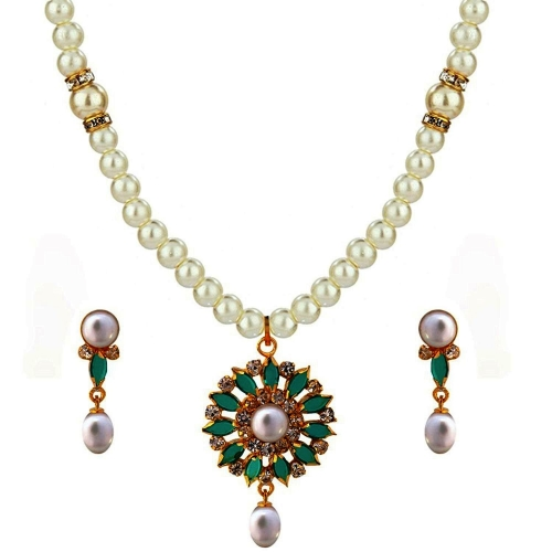 Nisa pearls Necklace With Stone Work Pendant For Women & Girls
