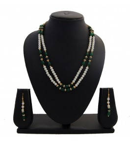 Nisa Pearls Green Colored Beaded Necklace Set For Women & Girls