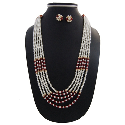 Nisa Pearls  Green and Red Color Stones Necklace For Women & Girls