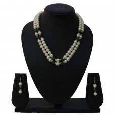 Nisa pearls Traditional Green Colored Necklace Set For Women & Girls